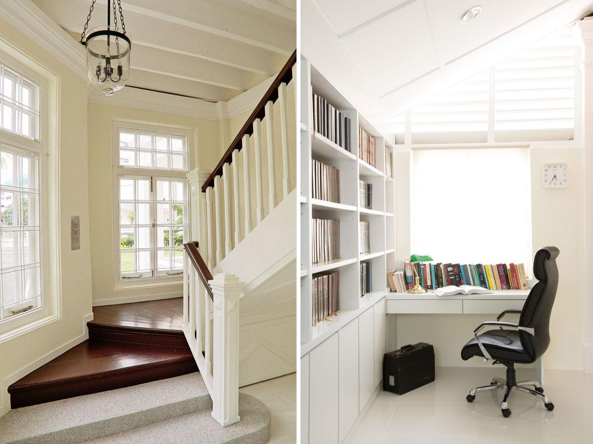 House interior showcasing staircase with window lighting and reading room