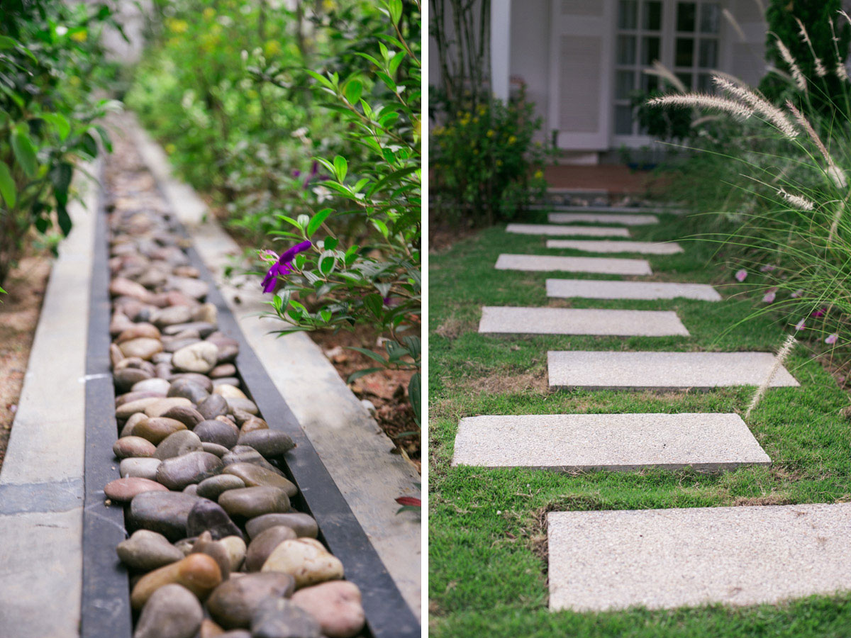 Garden stepping stones and landscaping